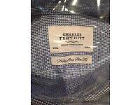 Blue and white Charles Tyrwhitt 16in collar shirt