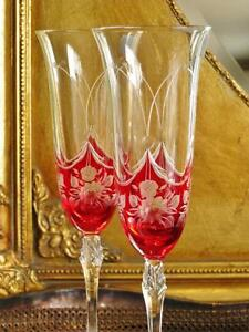 Pair of beautiful bohemia royal crystal petite fleur champagne fl - Petite flute a champagne ...