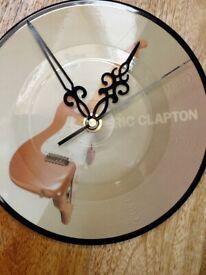 WALL CLOCK - HEAVY SOLID WOOD BASE, ERIC CLAPTON PICTURE DISC, QUARTZ MOVEMENT - SUIT ROCK FAN