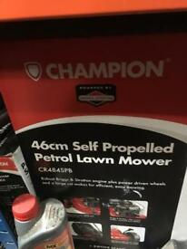 Champion petrol lawnmower self-propelled new