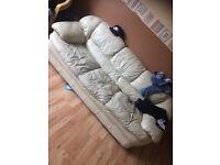 Cream leather sofa 2seatet n 3 seater