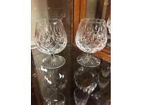 Pair of Stuart crystal cut Brandy glasses