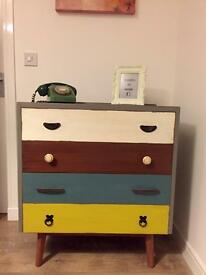 Industrial chic fully refurbished multi coloured chest of drawers