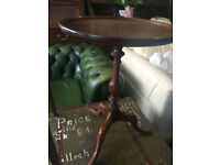 Fine Little Mahogany Circular Pedestal Side / End Wine / Or Lamp Table