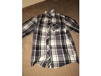 Blue zoo long sleeved black and white tartan button shirt age 12 years
