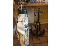 Macgregor golf clubs, bag and trolley, includes full set irons, putter and variety of woods