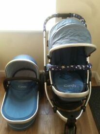 icandy peach jogger gumdrop blue - main seat, carrycot and chassis