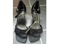 Black beaded wider fit sandals size 5 1/2