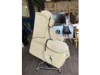 Beige rise and recliner armchair