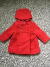 Girls red winter coat 6-9 months