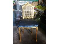Gold and velvet princess chair