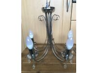 Chrome silver 5 candle chandelier light fitting