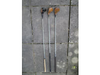 Mixed bag of vintage golf clubs