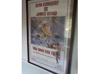 James Bond 'You only live twice' vintage framed film poster vgc, used for sale  Cambridgeshire