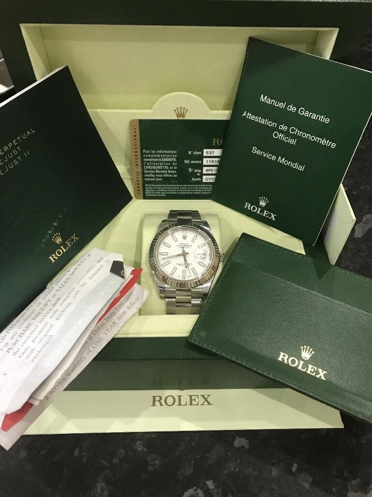 2013 rolex oyster perpetual datejust ii 116334 box card papers