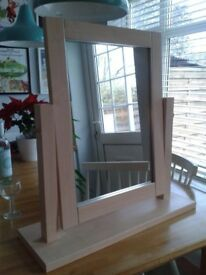 Dressing Table Mirror - Swivels - in Excellent Condition - Colour Maple