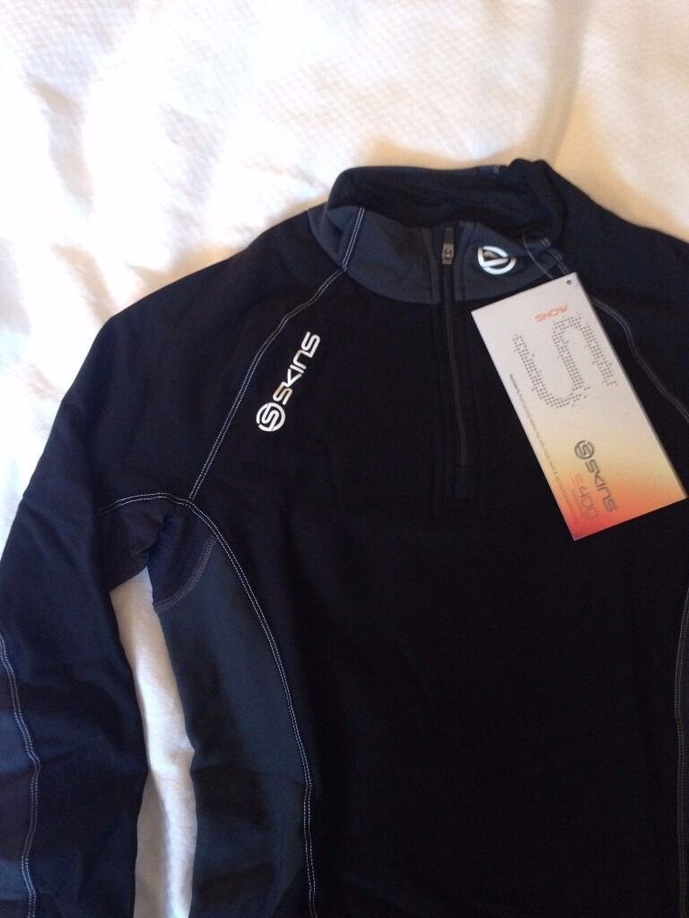 Womens Skins S400 SNOW Ski / Thermal Top Half-Zip Medium Black NEW RRP £69.95