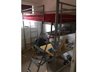 Kids high sleeping metal bed with mattress desk and chair.