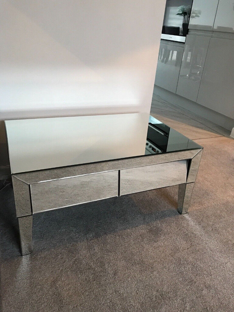 Modern Shabby Chic Gl Mirrored Coffee Table With 2 Drawers