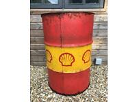 Vintage Auto Memorabilia Large SHELL Branded Oil Can Drum 1970s Man Cave Bar BBQ
