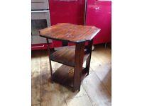 Sweet little Art Deco side table. Solid oak. Octagonal top. 3 tier