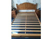 DOUBLE BED, MATTRESS AND CABINETS