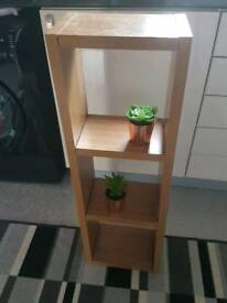 Oak finish Argos 3 shelf display unit