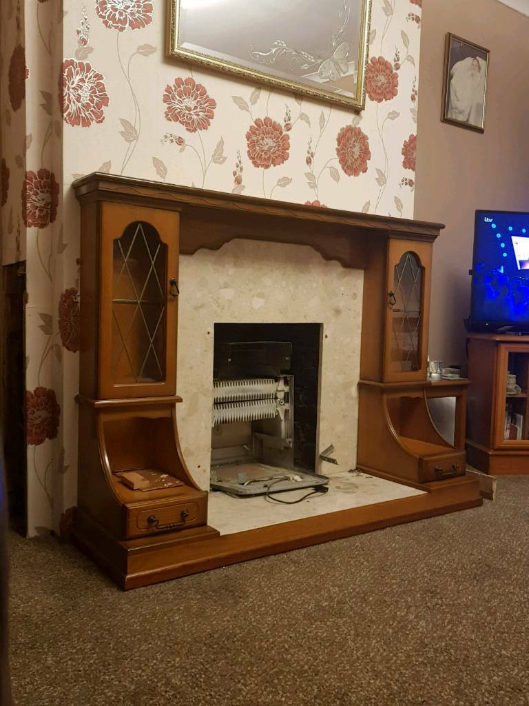 Marble and wood fire surround