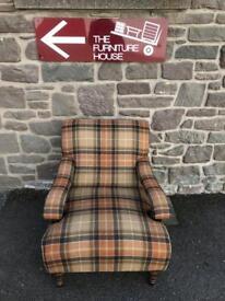 Oak framed tweed / tartan armchair * free furniture delivery *