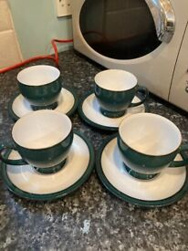Denby Greenwich Cups and Saucers x4