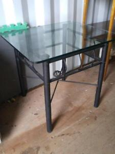 Black Metal and 1/2 Glass SIDE TABLE Living room 24x24x28