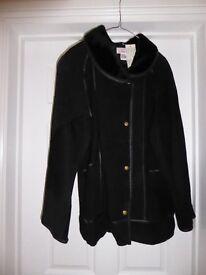 Ladies Size 14/16 faux suede 3/4 black coat, never worn