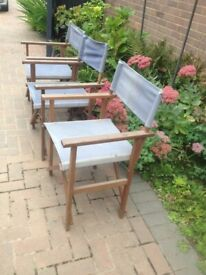 3x folding directors chairs for the garden