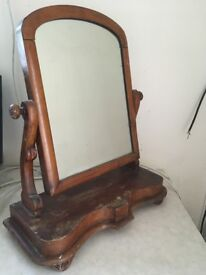 Wooden table top mirror