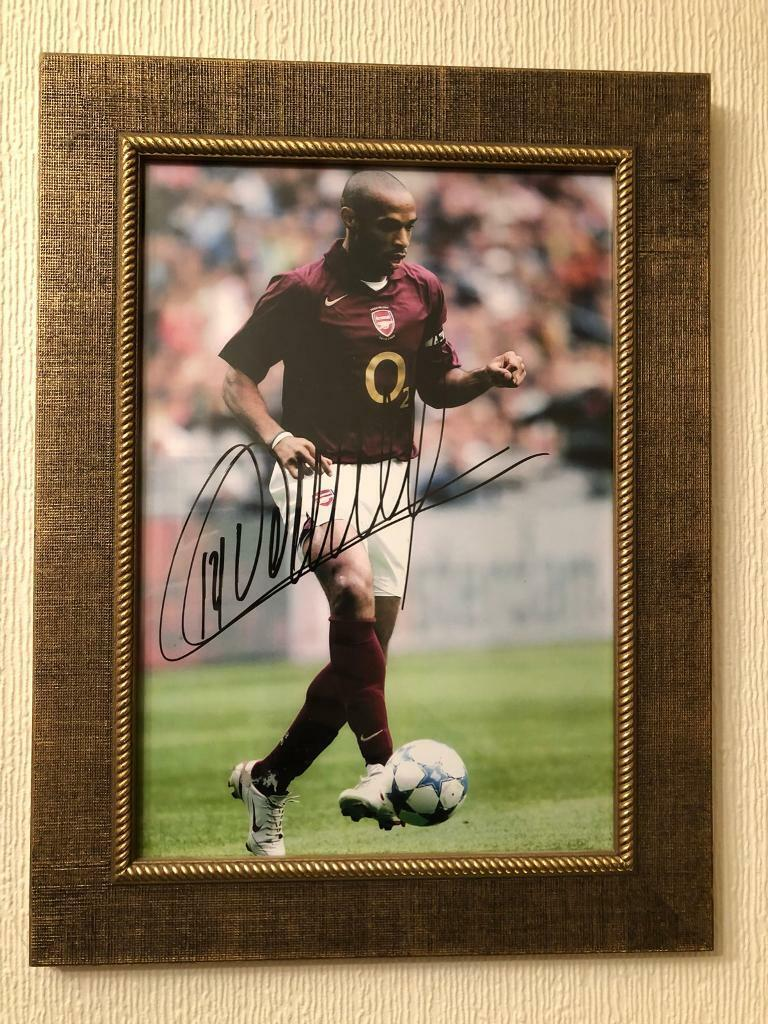 41280b9d2a9 Signed Thierry Henry Framed Photo   Signed Thierry Henry   D Bergkamp last  match at Highbury poster