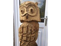 139CM Beautifully hand carved Bespoke Wooden Owl Statues Large Garden Sculptures