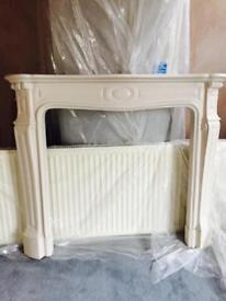 3 piece pure whiteMarble fireplace mantle.