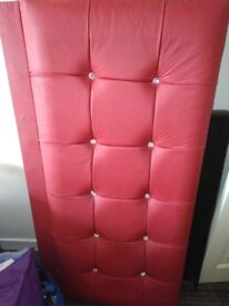 Headboard red faux leather diamond studs NO FITTINGS