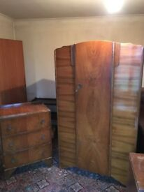 Vintage retro antique Victorian wardrobe chest of drawers pair £130
