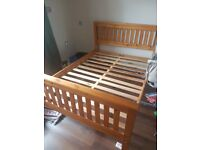 Solid oak bed frame, used, double size