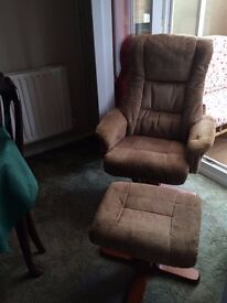 Beautiful and super comfortable recliner with foot stool