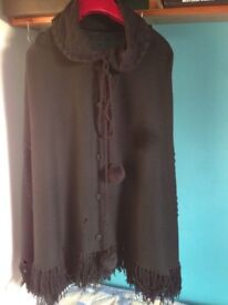 BLACK LADIES CAPE - hand made with lovely detail and fringed bottom