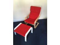Ikea Reclining Chair (Model 'Poang') and Footrest. Red Upholstery.