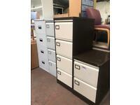 4 Draw Brown & Beige Metal Filing Cabinet