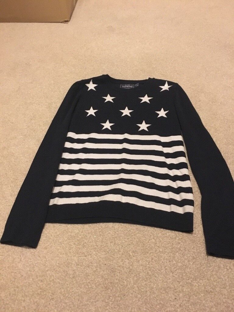 Men's Blue and white stripe with stars Jumper