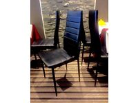 BLACK FAUX LEATHER DINING CHAIRS