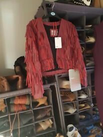 Real Leather berry fringed jacket