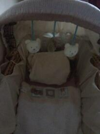 Whicker Moses basket and stand