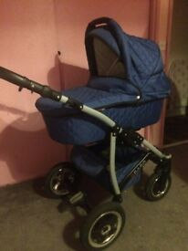Used Pram/pushchair/mountable car seat combi with covers.