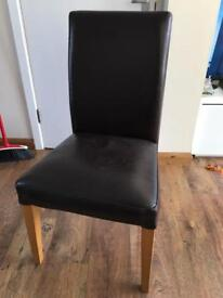 3x Ikea Henriksdal brown leather dining chairs